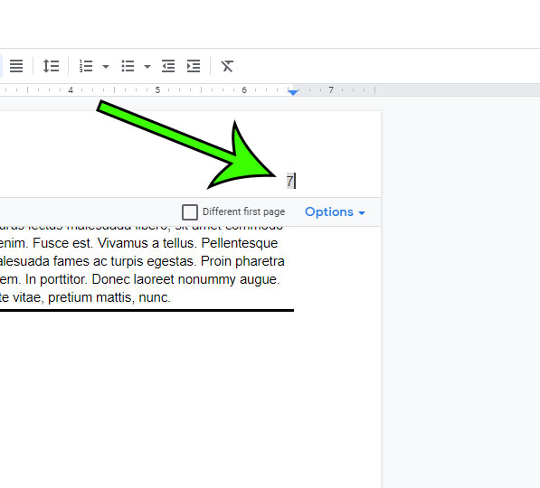 how to remove page numbers from Google Docs